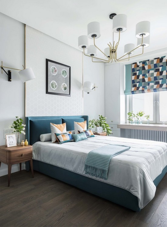 как комбинировать занавески и покрывало в спальне