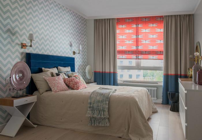 как сочетать покрывало и шторы в спальне
