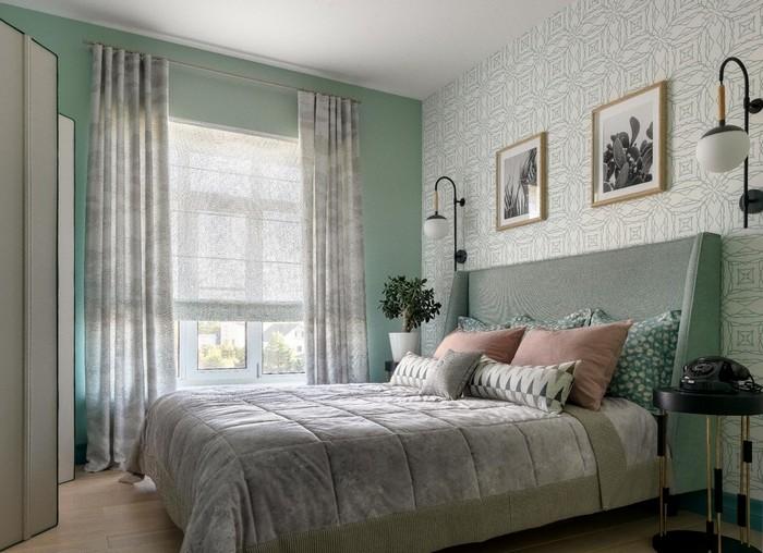 шторы и покрывало в спальне