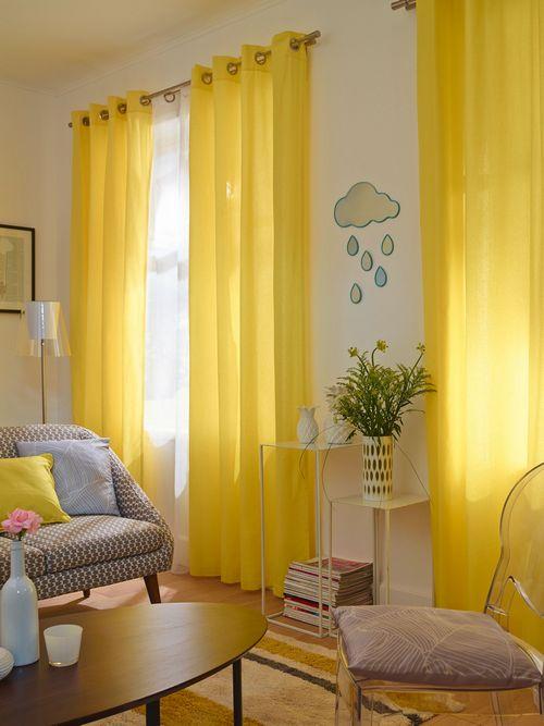 жёлтые занавески в интерьере