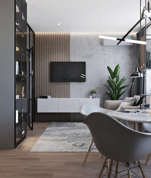 рейки на стене в гостиной