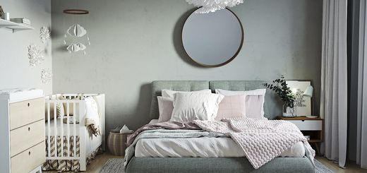 дизайн родительской спальни с детской кроваткой